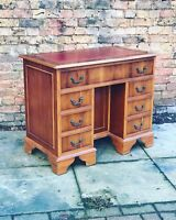 Kneehole Desk With Red Leather Top