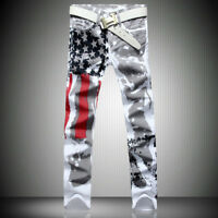 Men's Distressed Jeans Slim American Flag Fit Long Pants Trousers Printed Jeans