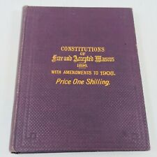 Rare Antique Freemasons Constitutions Book Masonic 1896 England 1906 Amendments