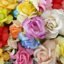 35 Rainbow Mulberry Paper Flowers Wedding Headpiece Scrapbook Gift Rose ZM-427