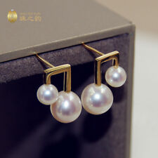 Gorgeous AAA+ 8-9mm real natural Japanese Akoya white round pearl earrings 18k