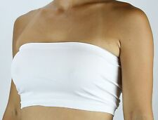 Basic Plain TUBE TOP BANDEAU-NON-PADDED Stretch Seamless Strapless Layering top