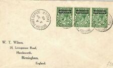 MOROCCO AGENCIES KGV Cover Tangier ½d Strip{3} GB Birmingham Wilson 1918 PB213
