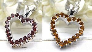 Valentines Special Citrine Garnet Double Sided Heart Pendant Silver Free Chain