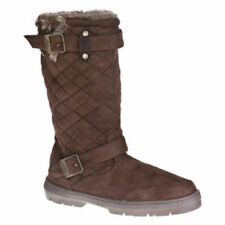 Ladies Ella Faux Suede Biker Boots in Brown - Size 3 & 4