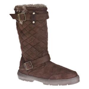 Ladies Ella Faux Suede Biker Boots in Brown - Size 3 (36)