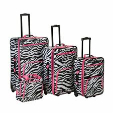 Rockland Luggage 4 Piece Pink Zebra Expandable Rolling Luggage Set, Black, 1