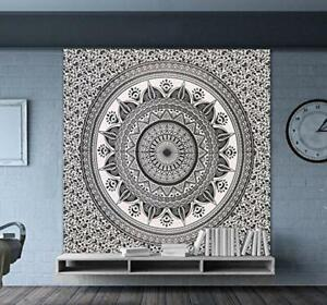 New Black & White Indian Ombre Mandala Wall Decor Tapestry Queen Bedding Hippie