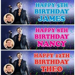 2 Personalised Harry Styles Birthday Party Celebration Banners Decoration Poster