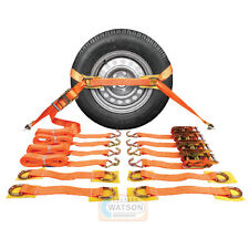 Recovery Ratchet Straps - Set of 4 - Safe For Alloy Wheels & Trailer Break Down