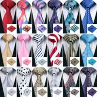 USA 300 Colors Blue Red Black Grey Green Pink Gold Silk Men's Tie Necktie Set