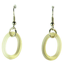 SIMPLE STYLISH LADIES CASUAL TRANSPARENT CREAM PLASTIC OVAL DROP EARRINGS (ZX2)