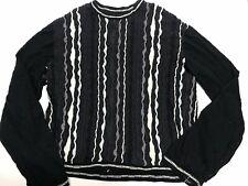 Vintage Coogi Multicolor Black White Mercerized Cotton Knit Sweater XXL