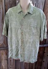 Jamaica Jaxx Men's Hawaiian 100% Silk Shirt Large L Short Sleeve Green Jacquard