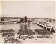 Suisse, Genève, Pont Mont-Blanc et l'Ile Rousseau  Vintage albumen print
