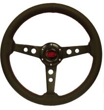 SAAS Retro Black Leather Sports Steering Wheel 350mm New Classic Look