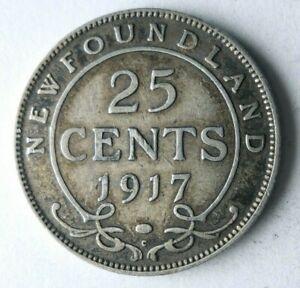 1917 NEWFOUNDLAND (CANADA) 25 CENTS - HIGH VALUE RARE SILVER Coin - Lot #A20