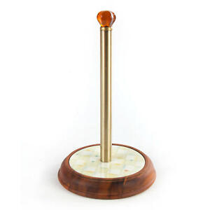 MacKenzie-Childs Parchment Check Wood Paper Towel Holder