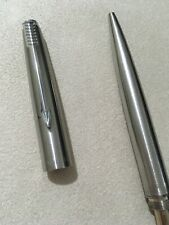 VINTAGE PARKER 45 STEEL FLIGHTER CHROME TRIM BALLPOINT PEN -ENGLAND-BLUE INK.