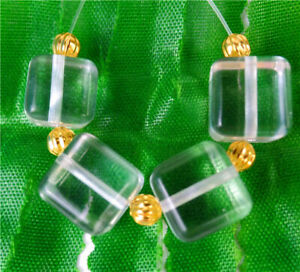 10mm 4Pcs White Crystal Glass Cube Height Hole Pendant Bead BV51921