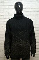 GF FERRE 2XL Maglione Nero Lana Vergine Uomo Sweater Maglia Cardigan Pullover