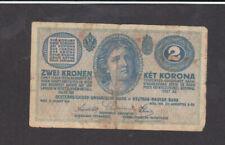 2 Kronen Vg Banknote From Austria 1914 Pick-17