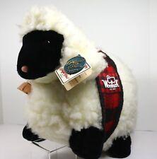 Vintage Woolrich Sheep Lamb Plush Crisha Tartan Copper Bell Advertising Toy 19in