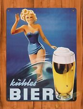 "TIN-UPS TIN SIGN ""Kuhles Bier Girl"" Vintage Pin Up Beer Ale Ad Rustic Wall Decor"