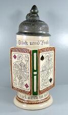 Skat Krug - Keramik - mit Zinndeckel