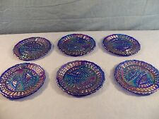 6 Fenton Dorothy Taylor Blue Carnival Glass Childs Miniature Dinner Plates 362
