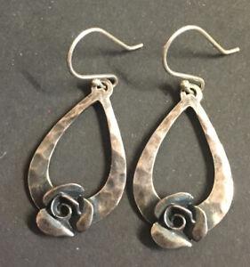 vintage 925 KL Israel sterling silver drop earrings With Roses Beautiful