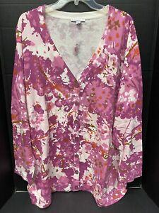 Isaac Mizrahi Live Boyfriend Cardigan Cherry Blossom 3X A231610 Sweater NWT