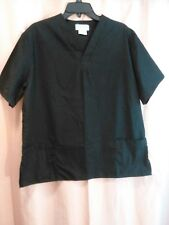 Medical V-Neck Scrub Top Natural Uniforms Black Unisex Sz M