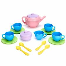 Green Toys TEA01R Tea Set Kids Kitchen Toys, Pretend Play for Indoor and Outdoor