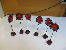 6 Vintage Table Setting Place Namecard Holders Red Flower Lucite plastic & metal