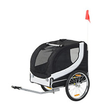 PawHut Folding Dog Bike Trailer Pet Bicycle Jogger Travel Carrier