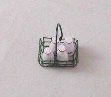 "Milk Bottles in Basket dollhouse miniature furniture  1/12"" scale IM65030"
