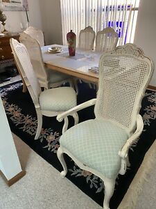 Dining chairs set of 6 excellent condition distressed antique style.