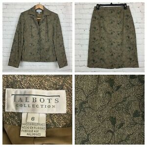 Talbots Suit Blazer Skirt Wool Silk Blend Womens Size 6 Vines Green Career