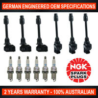 6x Genuine NGK Platinum Spark Plugs & 6x Ignition Coil for Nissan Maxima A32