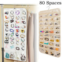 80Pockets Hanging Jewelry Organizers Storage for Holding Earring Jewelries P U_X