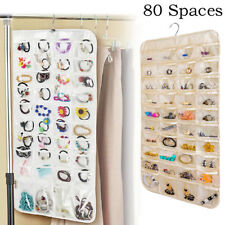 80 Pockets Hanging Jewelry Organizer Storage for Holding Earring JewelriePouchTW