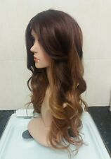 Brown, Blonde, 100% Human Hair Blend Wig, Dip dyed lace front
