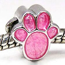 Wholesale 20pcs Pink Dog Paw Silver Enamel European Bracelet Charm Beads D473
