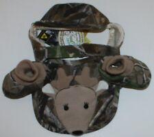 Baby Deer Lil' Hunter Cameo Deer Set Bib Booties Cute Hat Size Birth - 6 Weeks