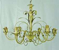 LUSTRE LAMPE 6 LED LUMIERES ART DECO ART.40 FER METAL FORGE ITALIEN ÉCLAIRAGE