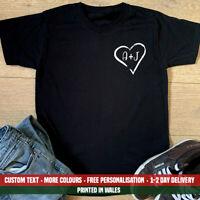 Heart Initials Pocket T-shirt Valentines Day Boyfriend Husband Love Gift Top