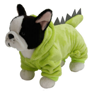 Cute Small Pet Dog Cat Green Dinosaur Cosplay Costume Coat Jacket Winter Clothes
