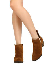 New Women Vegan Suede Cowboy Western Ankle Booties Boot Shoe Pull On Side CutOut