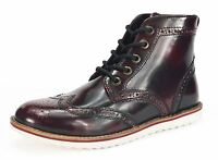 Red Tape Carrick Mens Brogue Lace Up Leather White Sole Boots Oxblood